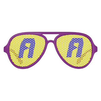 Blue Yellow Aviator Party Shades, Purple Sunglass Party Sunglasses