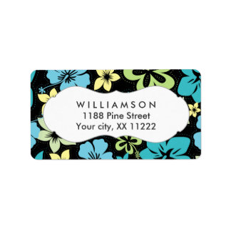 blue yellow black hibiscus hawaiian tropical favor label