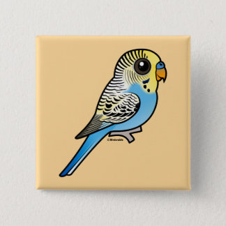 Blue & Yellow Budgie 2 Inch Square Button