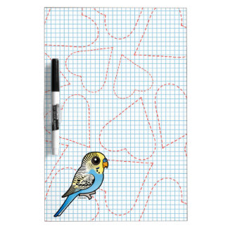Blue & Yellow Budgie Dry Erase Board