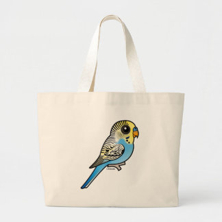 Blue & Yellow Budgie Large Tote Bag