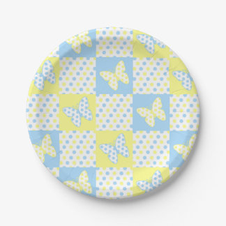 Blue Yellow Butterfly Polka Dot Patchwork Girl Paper Plate