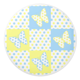 Blue Yellow Butterfly Polka Dot Quilt Block Girl Ceramic Knob