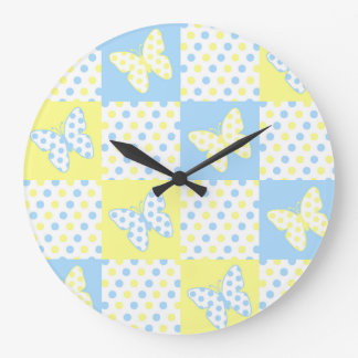 Blue Yellow Butterfly Polka Dot Quilt Block Girl Large Clock