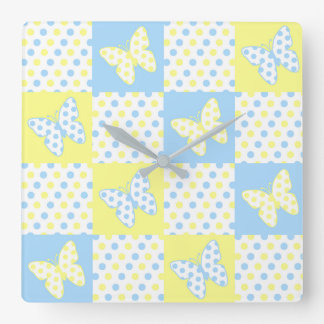 Blue Yellow Butterfly Polka Dot Quilt Block Girl Square Wall Clock