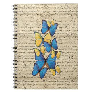 Blue & yellow butterrflies notebooks