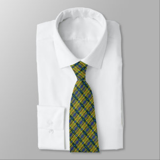 Blue Yellow Checkered Business Tie