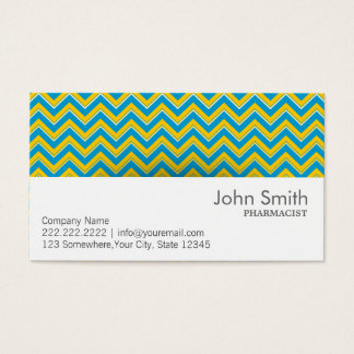 Blue & Yellow Chevron Pharmacist Business Card