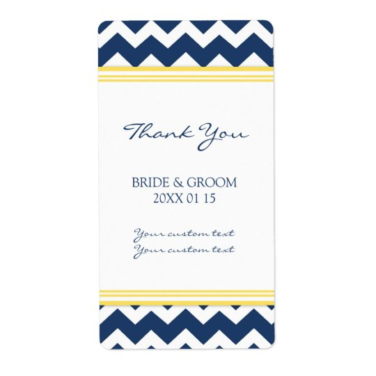 Blue Yellow Chevron Wedding Labels