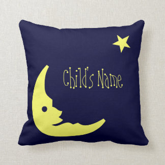 Blue,Yellow Child's personalized name moon pillow