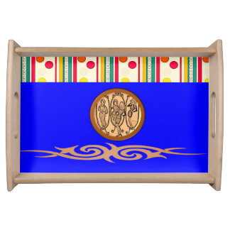 blue yellow colorful white dot dinner serving tray