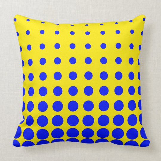 Blue & Yellow Colourful Vector abstract dot Throw Pillow