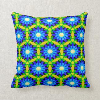 Blue & Yellow Crochet Look Flower Design Throw Pillow