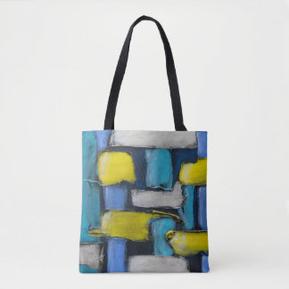 Blue Yellow Custom Painted Tote Bag