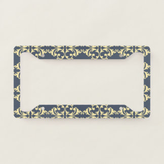 Blue-Yellow Florish License Plate Frame
