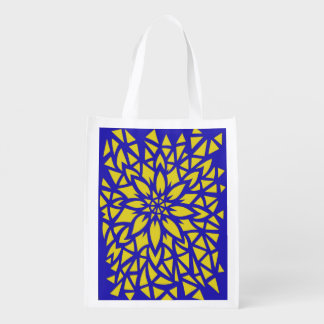 Blue & Yellow Flower Bag Grocery Bag
