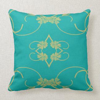 Blue/yellow flower scroll custom design pillow
