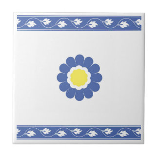 blue & yellow flower traditional tile design
