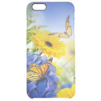 Blue Yellow Flowers With Butterflies Clear iPhone 6 Plus Case