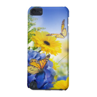 Blue Yellow Flowers With Butterflies iPod Touch 5G Cover