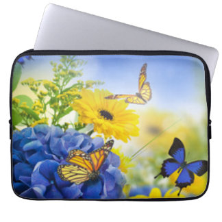Blue Yellow Flowers With Butterflies Laptop Sleeve