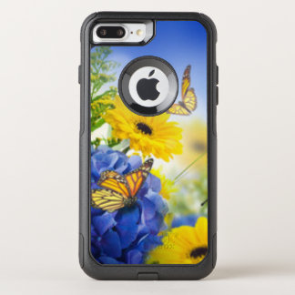 Blue Yellow Flowers With Butterflies OtterBox Commuter iPhone 8 Plus/7 Plus Case