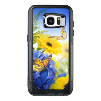 Blue Yellow Flowers With Butterflies OtterBox Samsung Galaxy S7 Edge Case