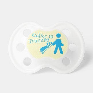 Blue Yellow Golfer in Training Baby Boy Pacifier