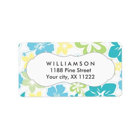 blue yellow green hibiscus hawaiian tropical label