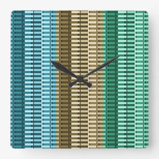 Blue Yellow Green Stylish Modern Abstract Pattern Square Wall Clock