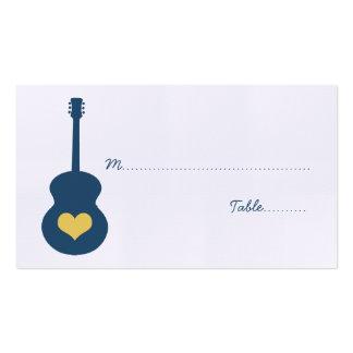 Blue/Yellow Guitar Heart Place Card Business Card Template