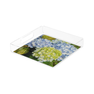 Blue Yellow Hydrangea Serving Tray