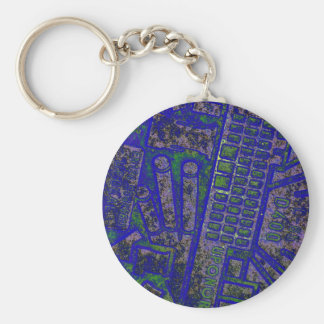 blue yellow manhole cover basic round button keychain