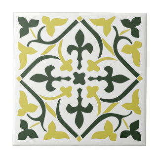 Blue yellow medieval style Ornament Ceramic Tile