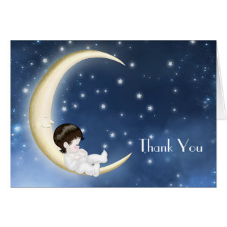 Blue Yellow Moon Baby Thank You Cards