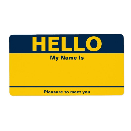 Blue Yellow Name Tag - Avery Label