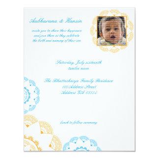 "Blue & Yellow Namkaran Baby Naming Invitations 4.25"" X 5.5"" Invitation Card"