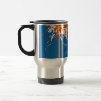 Blue, yellow, orange swirling Travel Mug