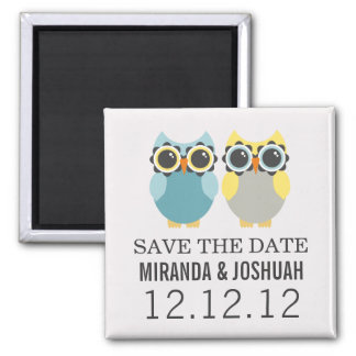 Blue & Yellow Owl Design Save The Date Magnets