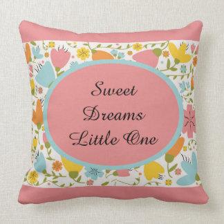 Blue Yellow Pink Orange Pastel Floral Baby Nursery Throw Pillow