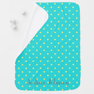 Blue & yellow polkadot personalized name baby blankets