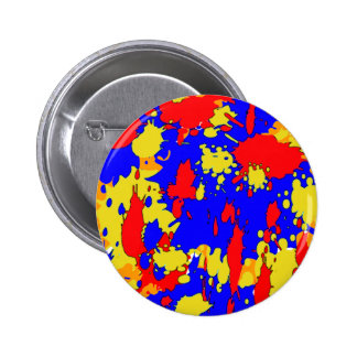 Blue Yellow Red Abstract Paint Splatters 2 Inch Round Button