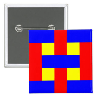 Blue, Yellow & Red Flannel Stripes 2 Inch Square Button