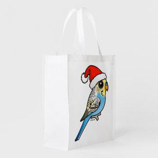 Blue & Yellow Santa Budgie Reusable Grocery Bag