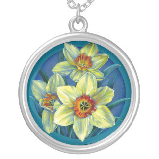 Blue yellow spring daffodils art necklace