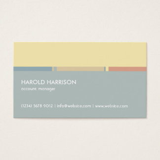 Blue yellow stripe abstract modern minimal simple business card