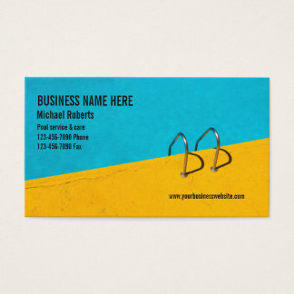 Blue yellow swimming pool care aqua services photo business card