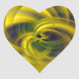 Blue & Yellow Swirls Heart Sticker