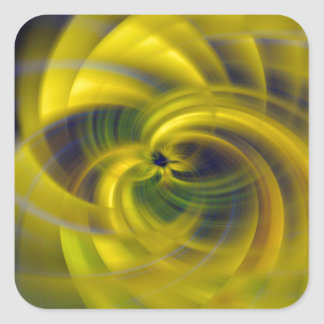 Blue & Yellow Swirls Square Sticker
