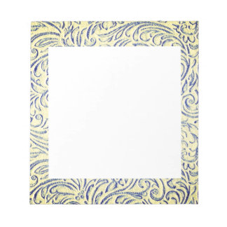 Blue Yellow Vintage Floral Scrollwork Graphic Notepad
